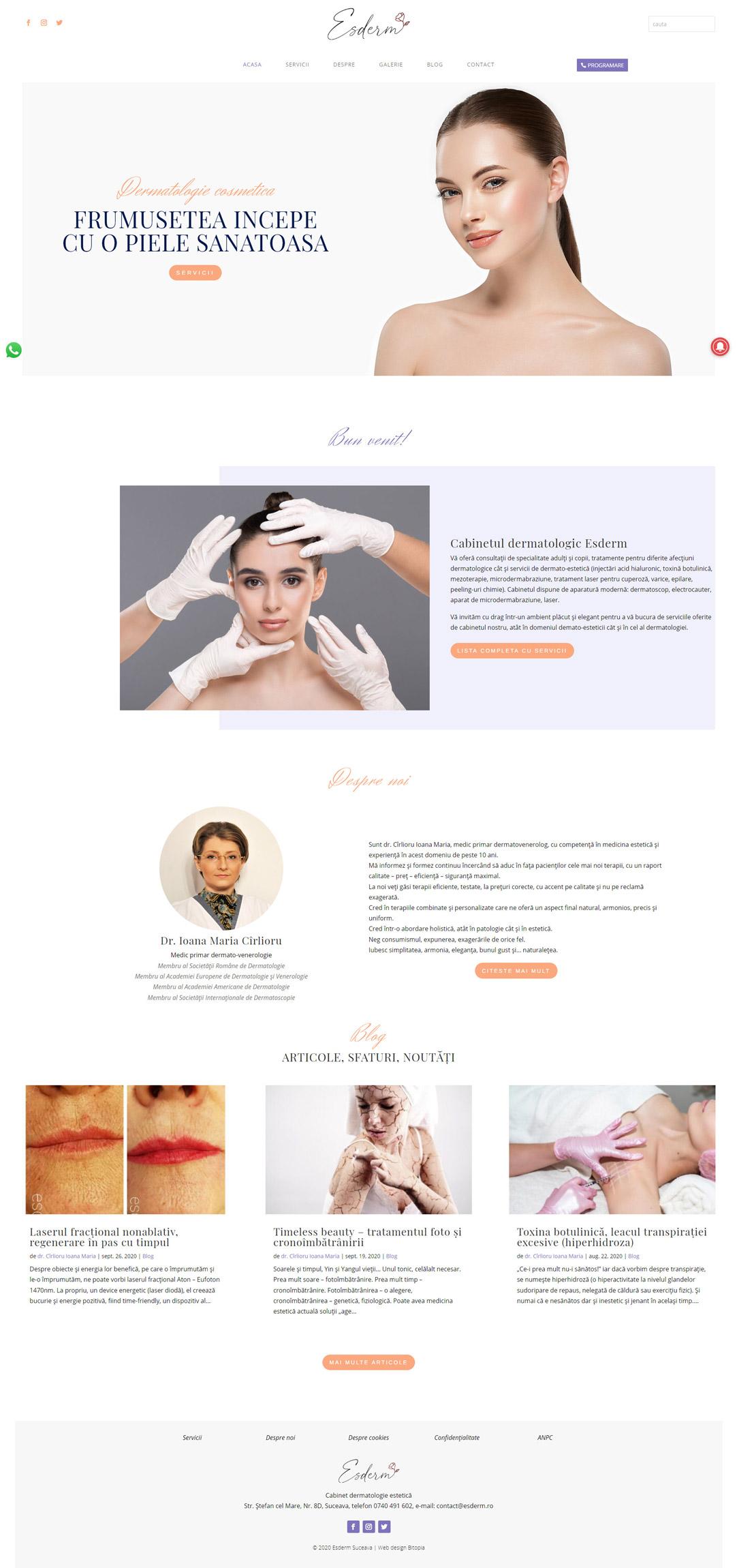 esderm.ro - Portofoliu design web Bitopia Falticeni