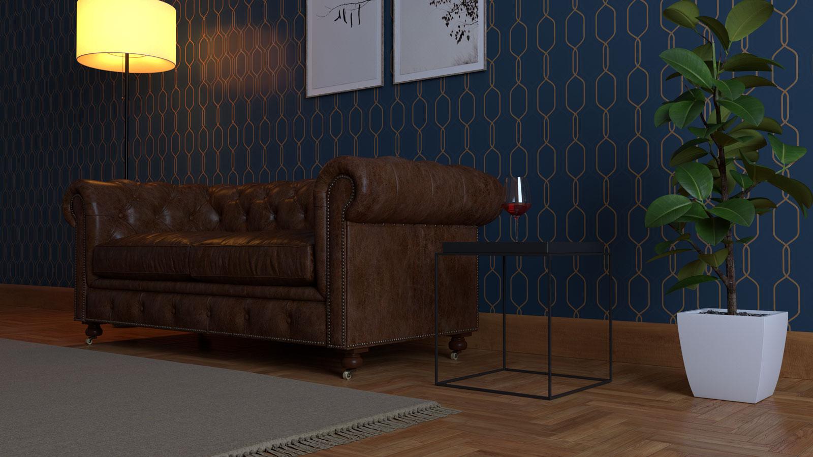 Sketchup living room scene - Bitopia 3D rendering studio