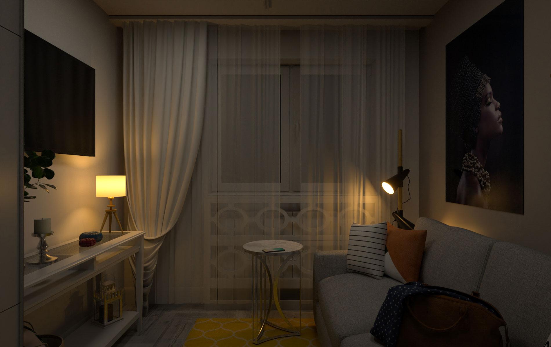 Bedroom night scene